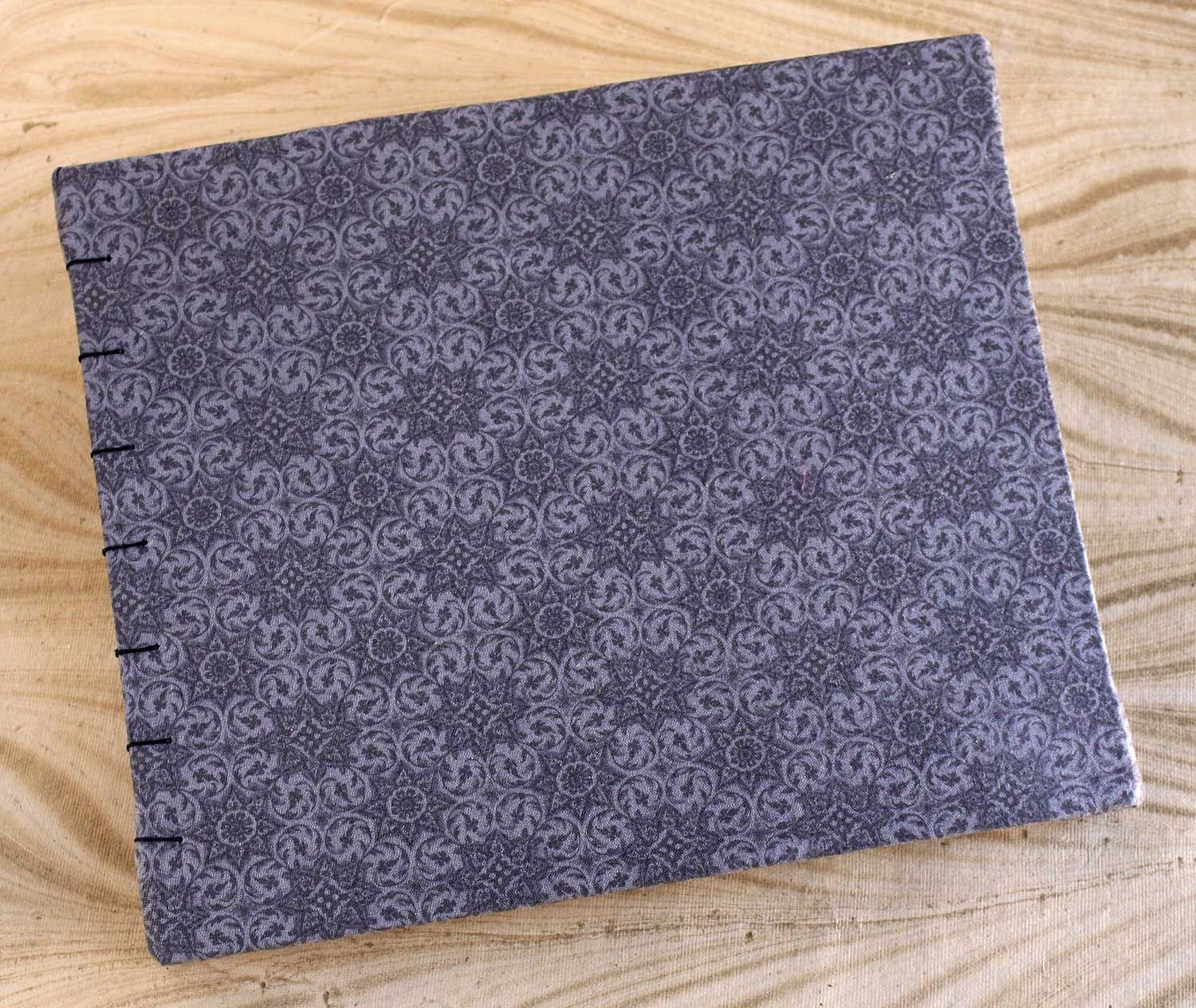 Grey Fabric Covered Photo Album Kraft Pages