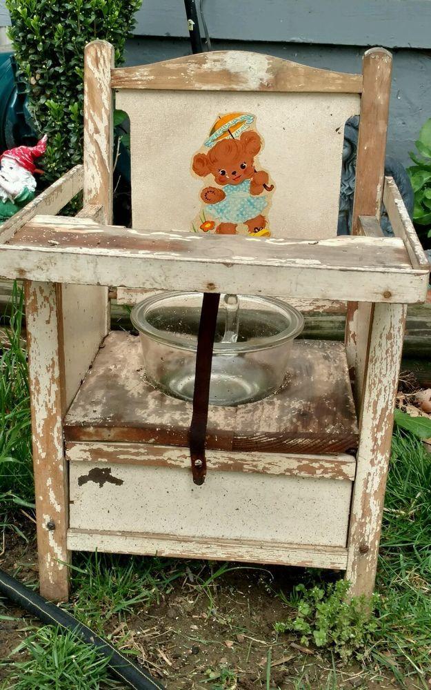 Antique Child's Wooden Potty Chair Glass Bowl Handle 72