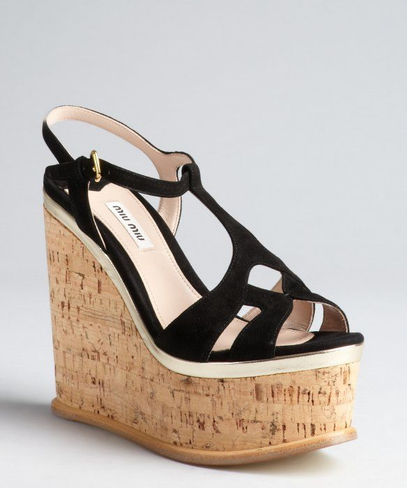cf907e36e7b Miu Miu black suede and cork cutout platform wedge sandals