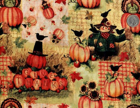 Cotton Quilt Fabric Give Thanks Scarecrow Thanksgiving Fall ... : quilting fabric sale - Adamdwight.com