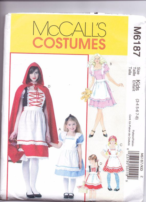 New Mccalls Pattern Halloween Costume Girls Red Riding Hood Alice In