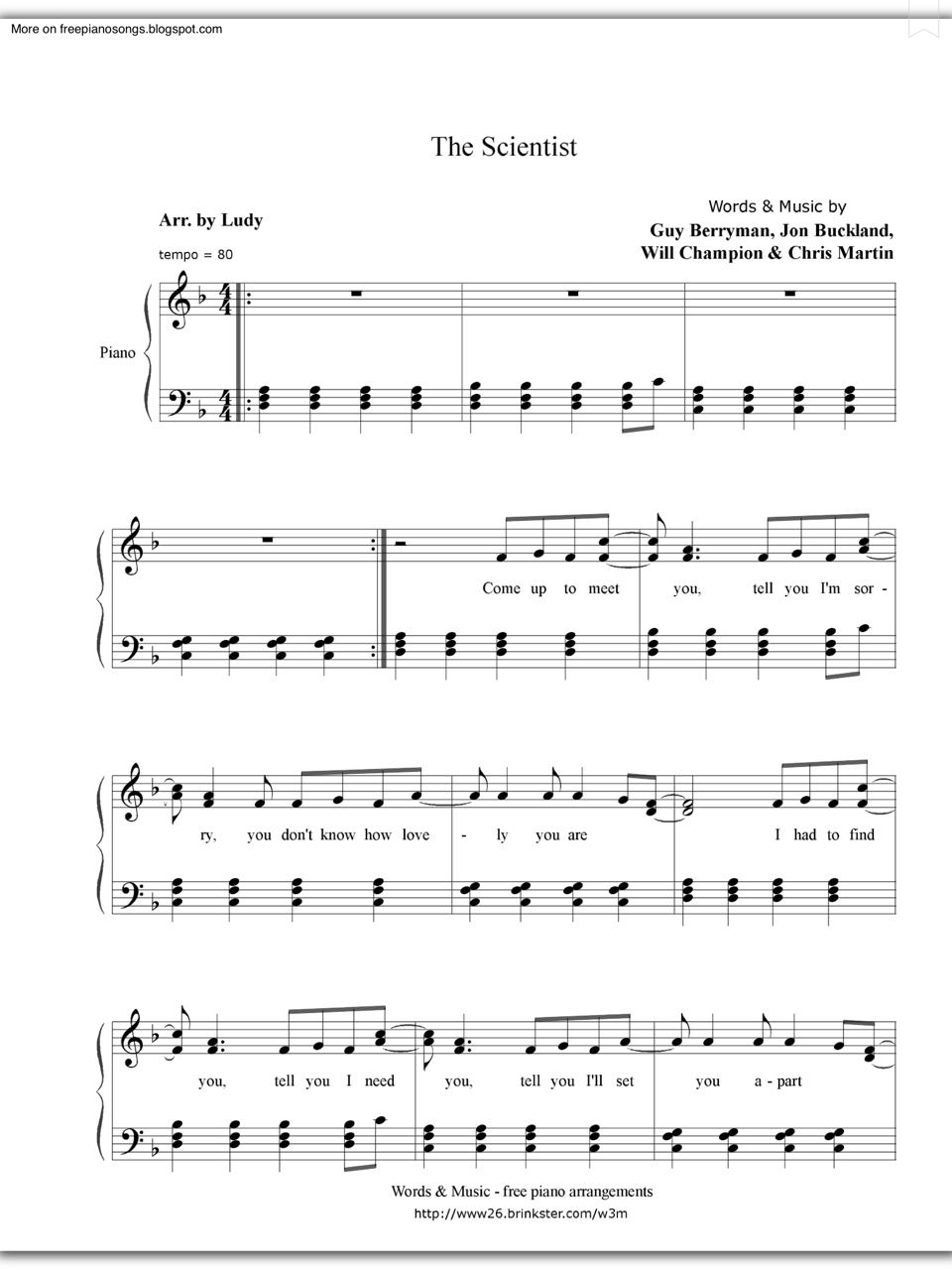 Piano Sheet Music Welovepianoforever The Scientist Coldplay