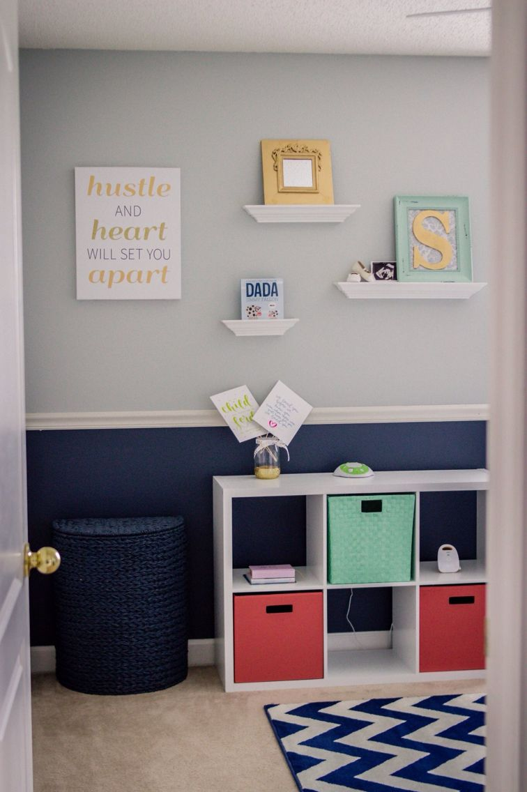 Baby Girl S Nursery Diy Grey And Navy Room With Hints Of