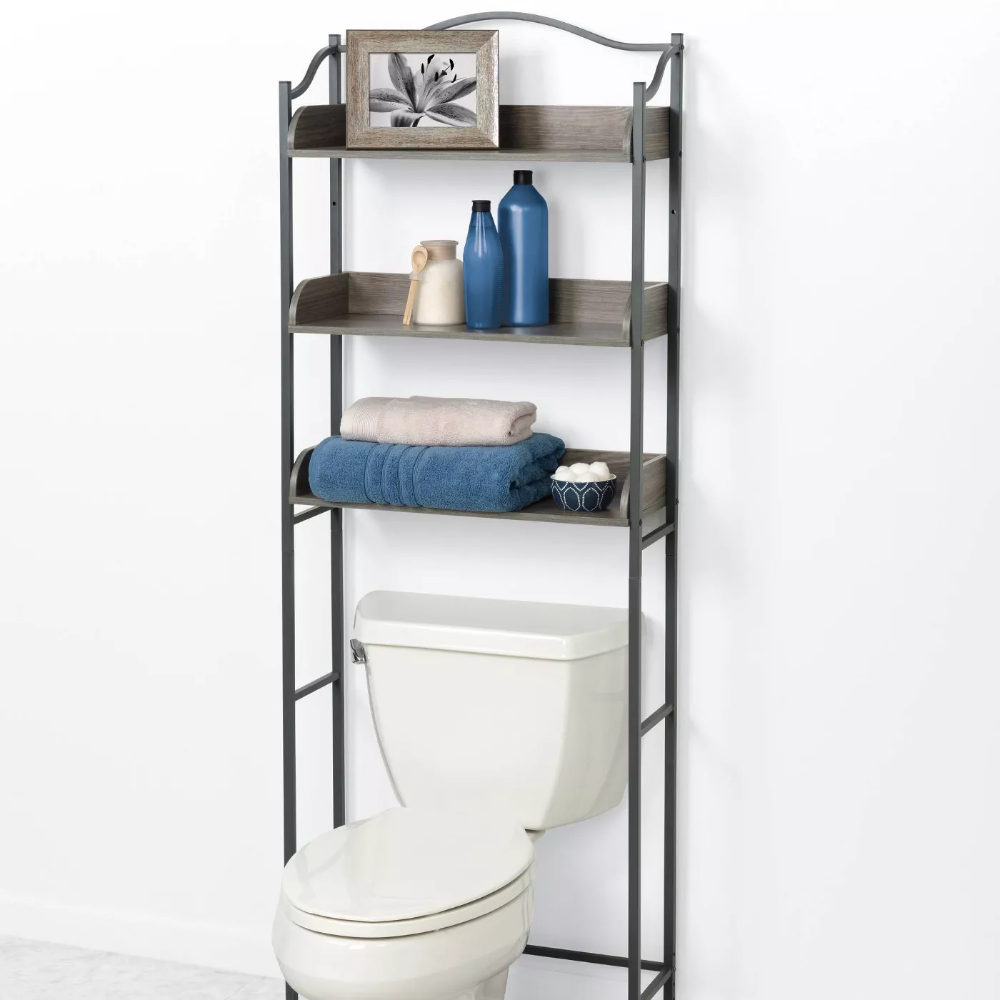 Spacesaver Over The Toilet Etagere Gray Zenna Home In 2020 Bathroom Space Saver Driftwood Bathroom Space Savers