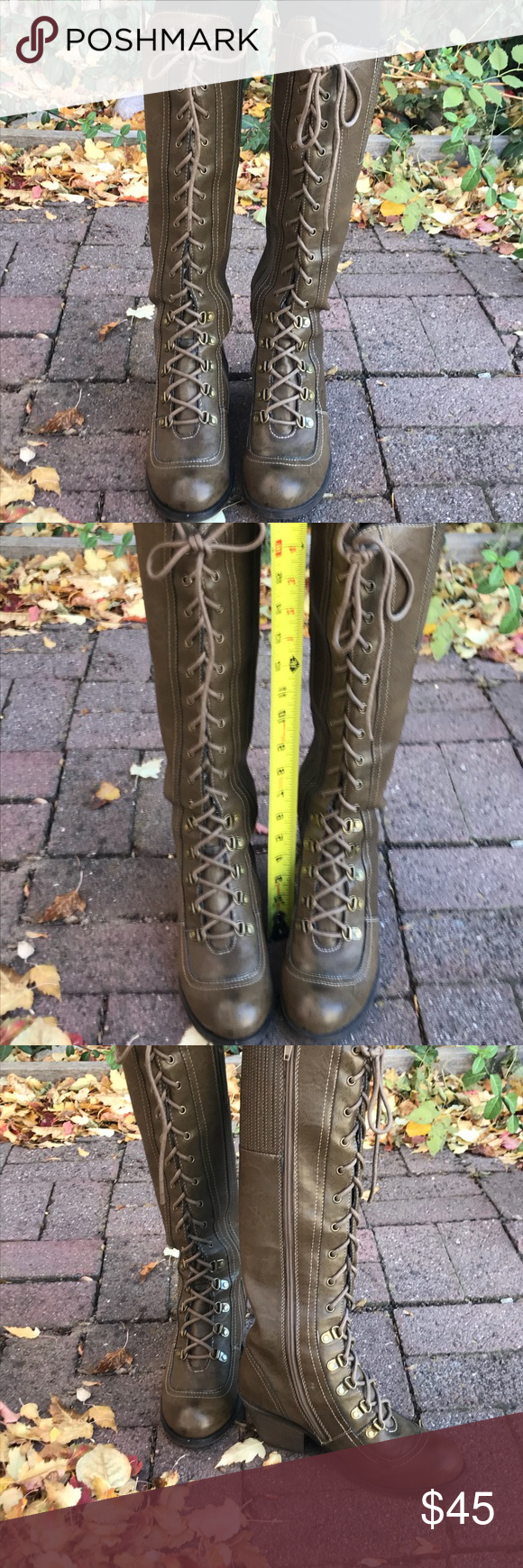 9924fde16b The color is an army green/beige type and the are meant to look distressed.  Good condition. Rocket Dog Shoes Lace Up Boots