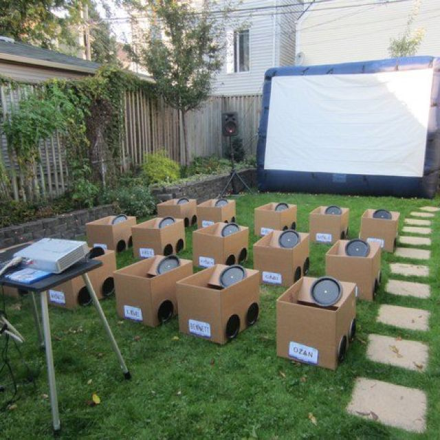 Backyard Movie Theatre have a backyard drive-in party for the kids with cardboard boxes