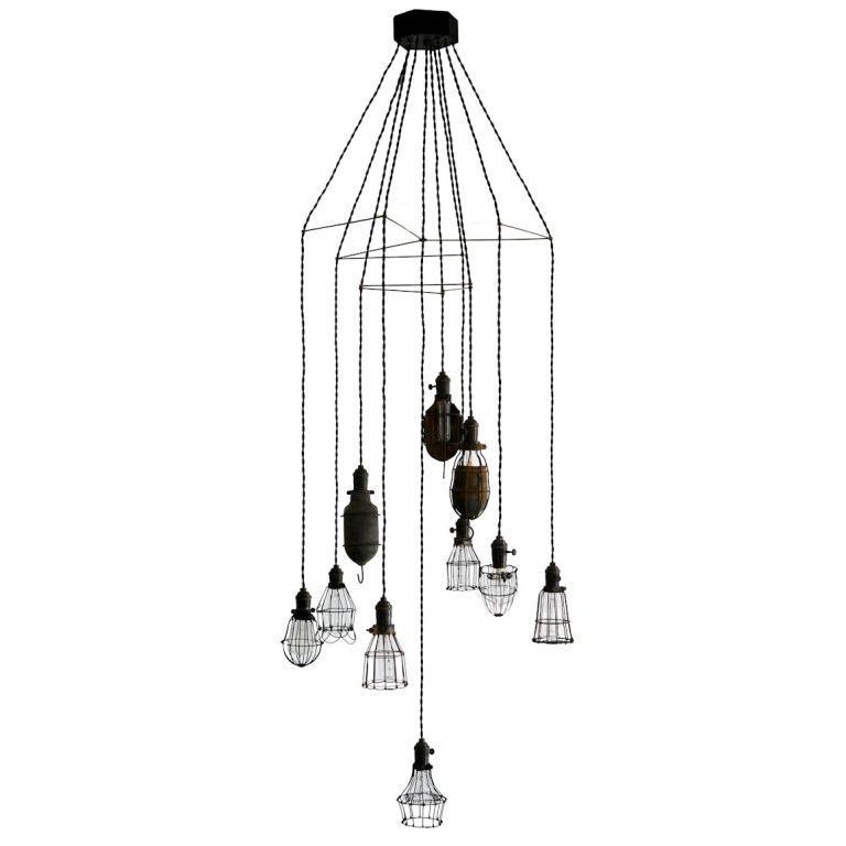 rewire    rewire custom ten light cage chandelier