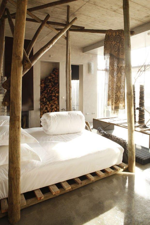 Cama rustica de madera dise os interiores copados for Cama rustica de madera