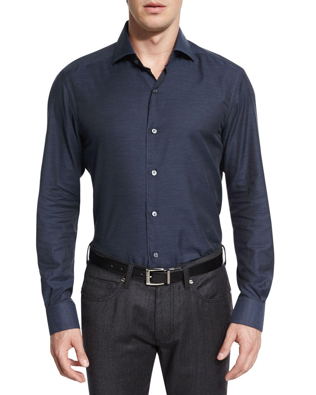 Baby Flannel Long-Sleeve Sport Shirt, Navy, Infant Boy's, Size: XL - Ermenegildo Zegna
