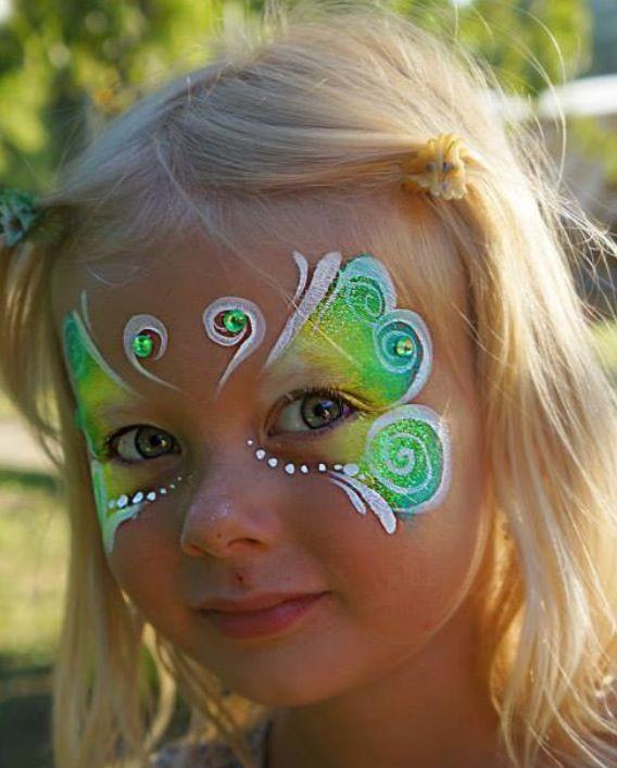 green fairy butterfly face paint schmetterling schminken pinterest kinderschminken kinder. Black Bedroom Furniture Sets. Home Design Ideas