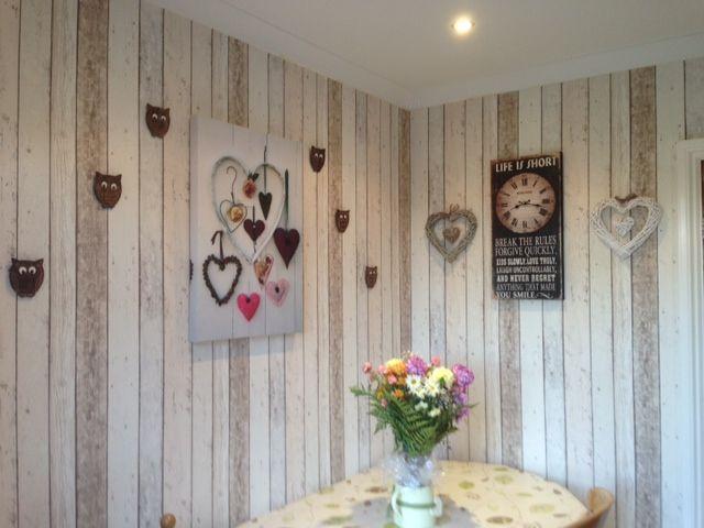 Shabby Chic Kitchen Wood Effect Wallpaper