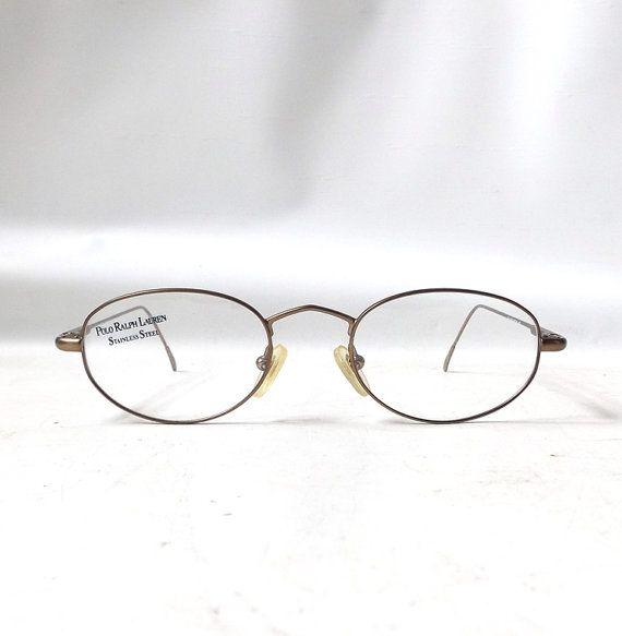 eyewear glasses boc9  vintage 1990's NOS ralph lauren polo eyewear eyeglasses antique gold metal  wire frames prescription italy womens