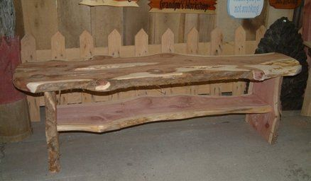 Today's project-live edge cedar slab bench or table