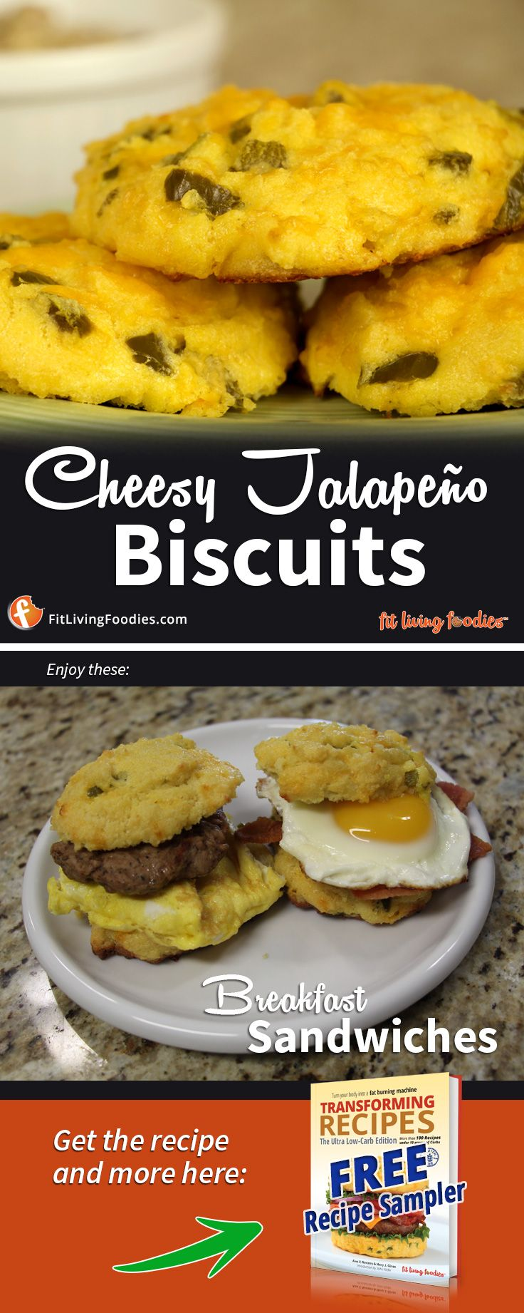 Ultra Low-Carb Cheesy Jalapeno Biscuits! Featured on the burger on the cover of our cookbook. Make breakfast sandwiches, sliders, biscuits and gravy...the options are endless! They're great as just a side!  #lowcarb #keto #carbnite #carbbackloading