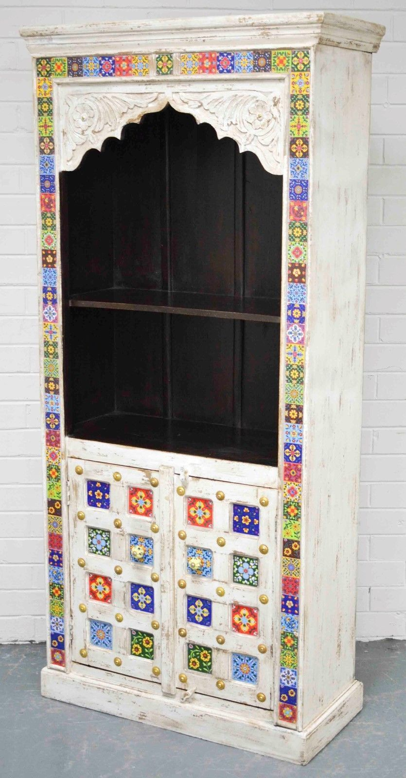 East Connection Moroccan Ceramic Tile Shabby Chic Carved Bookshelf Display Cabinet Size 78 CM Wide 180 High 36 Deep Also Features Door On The Lower