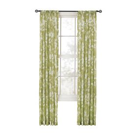 Style Selections Quinby L Floral Spring Green Back Tab Sheer Curtain