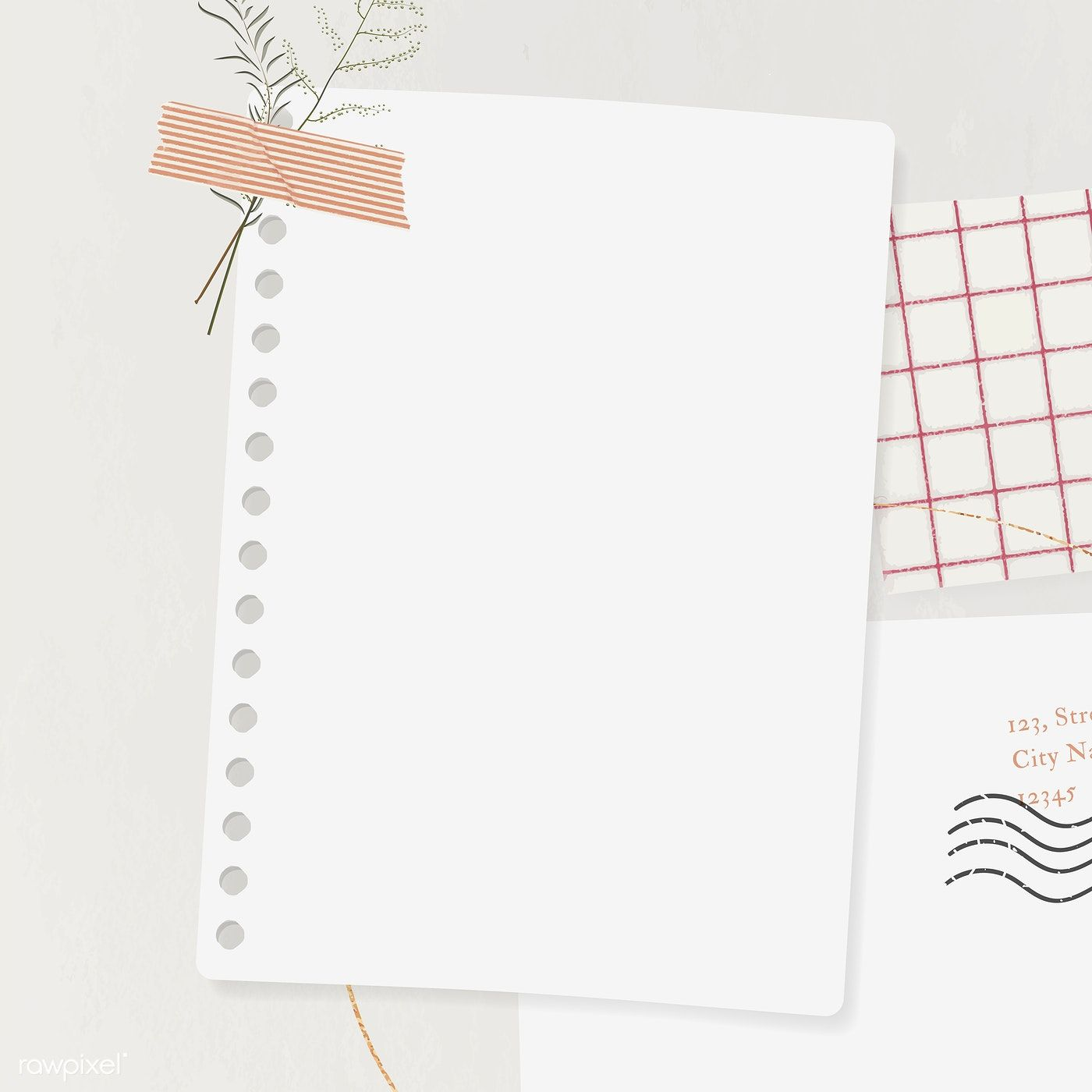 Download Premium Vector Of Blank Paper With Washi Tape Template
