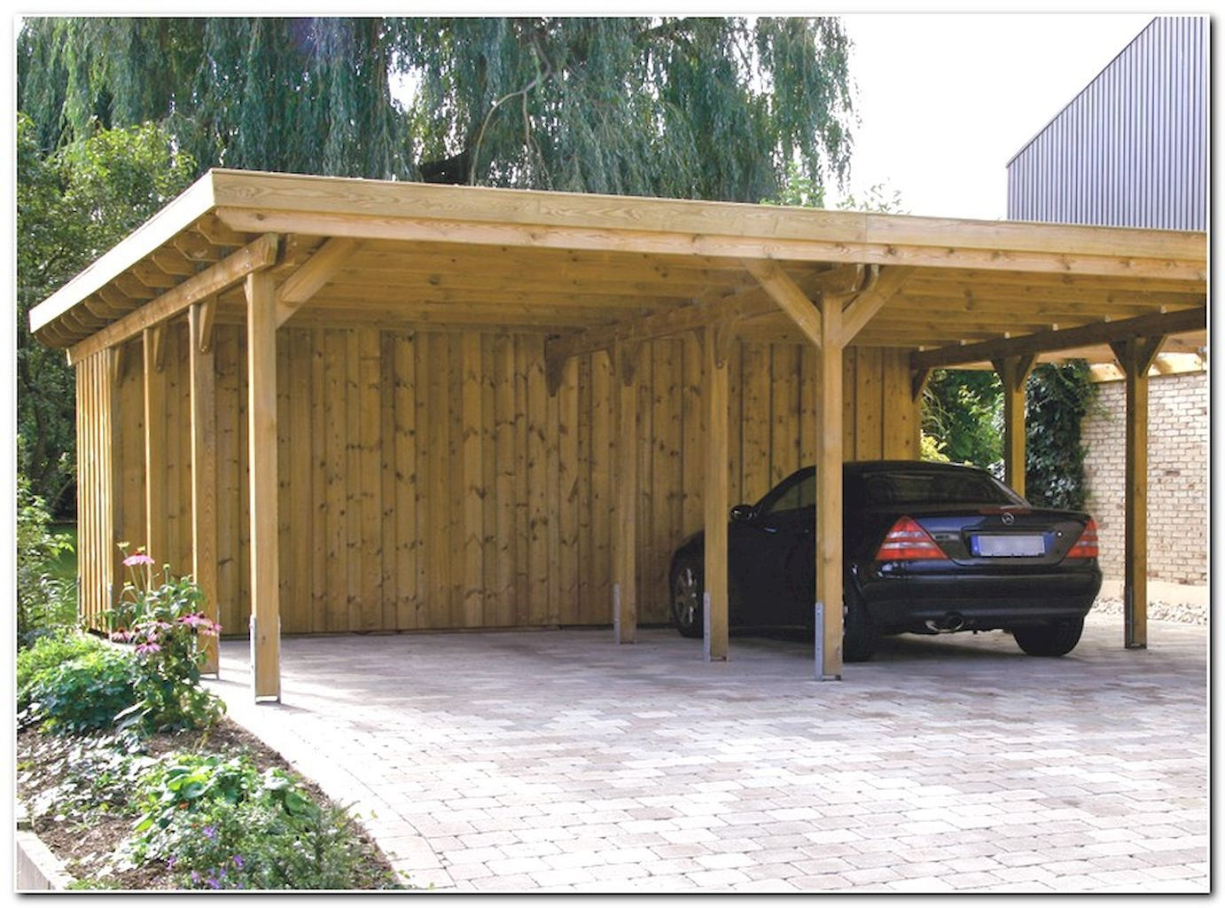 Doppelgarage modern holz  55 Adorable Modern Carports Garage Designs Ideas