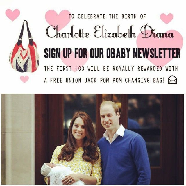 All the excitement of the Royal birth has gone to our heads at Obaby HQ! So much so we will be royally rewarding the next 400 people who sign up for our Obaby newsletter with a free Union Jack changing bag - head over to the link to get signed up! http://bit.ly/1yUg0Gi #obabyuk #royalbaby #freebie #giveaway #free #bag #changingbag #charlotteelizabethdiana #princess