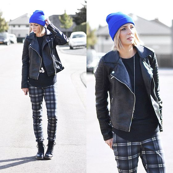 Beanie, Zara Jacket, Asos Baseball Top, Twice As Nice Disney Necklace, Mango Trousers, Dr. Martens Boots