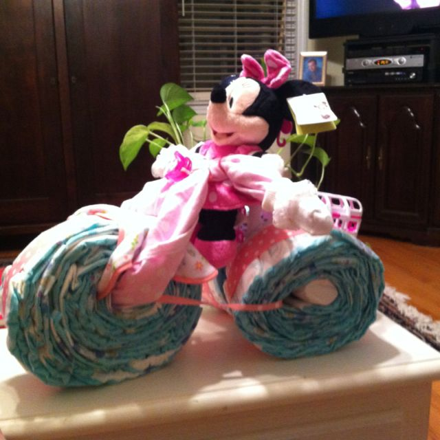 My diaper cake tricycle! My first pinterest project I'm not too embarrassed to post for everyone to see!