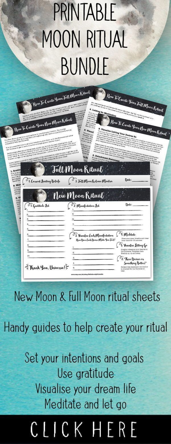 Printable New Moon & Full Moon Rituals • Moon Manifesting • Law of Attraction Planner • Moon Magic • Lunar Cycle #newmoonritual Start manifesting your dream life with the Moon's energy each month using this printable New and Full Moon ritual. Both A4 ritual sheets take you through each step with a 2-page guide to help you along the way! #newmoonritual Printable New Moon & Full Moon Rituals • Moon Manifesting • Law of Attraction Planner • Moon Magic • Lunar Cycle #newmoonritual St #newmoonritual