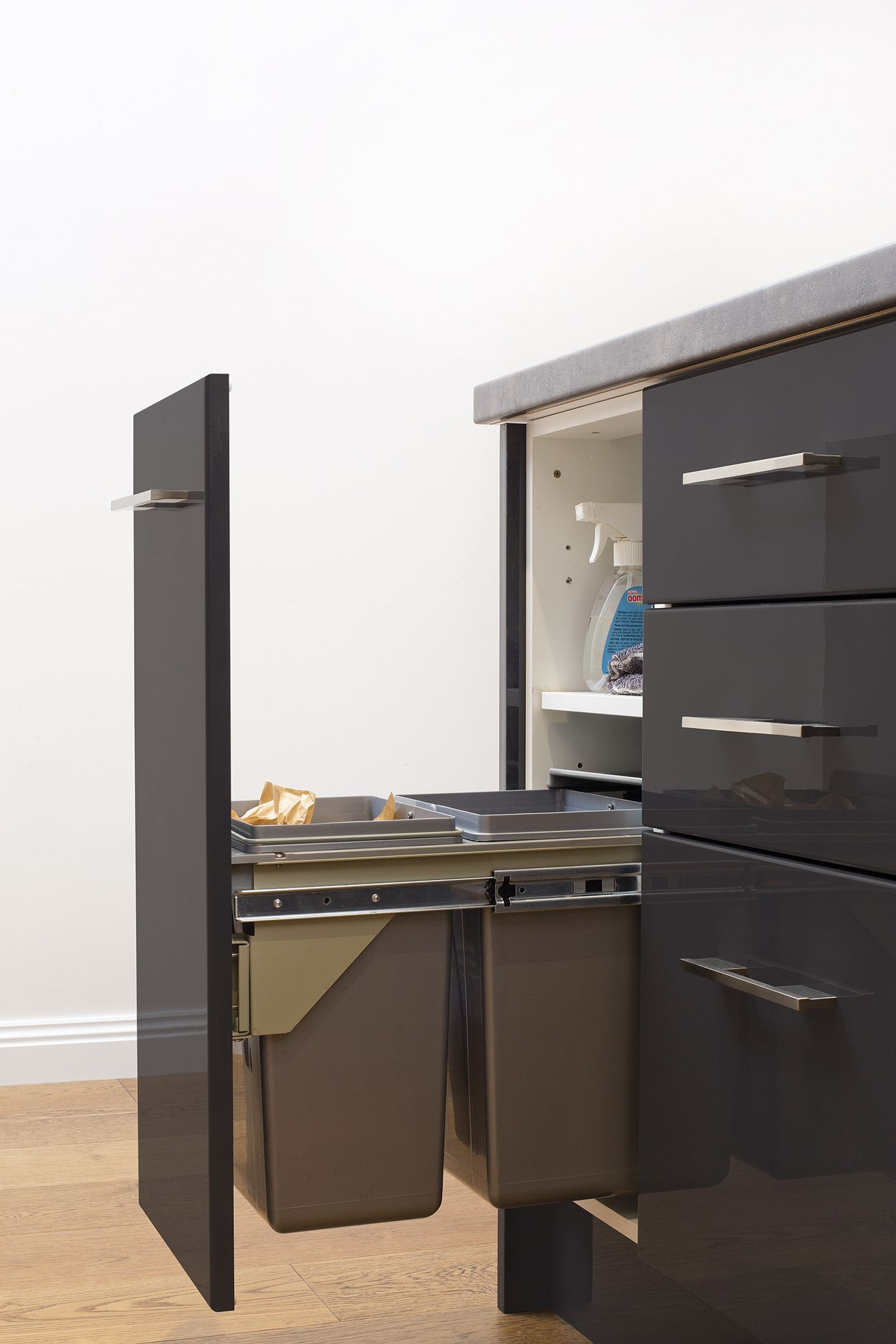 compact and streamline waste bin storage option check out kaboodle com au for more inspiration on kaboodle kitchen storage id=50127