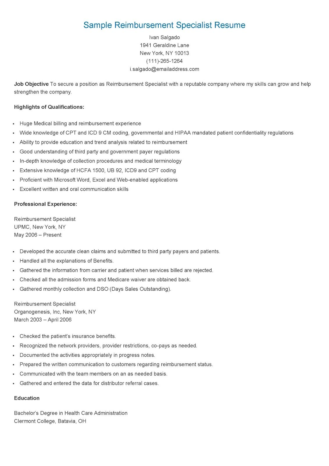 Sample Reimbursement Specialist Resume  Resame