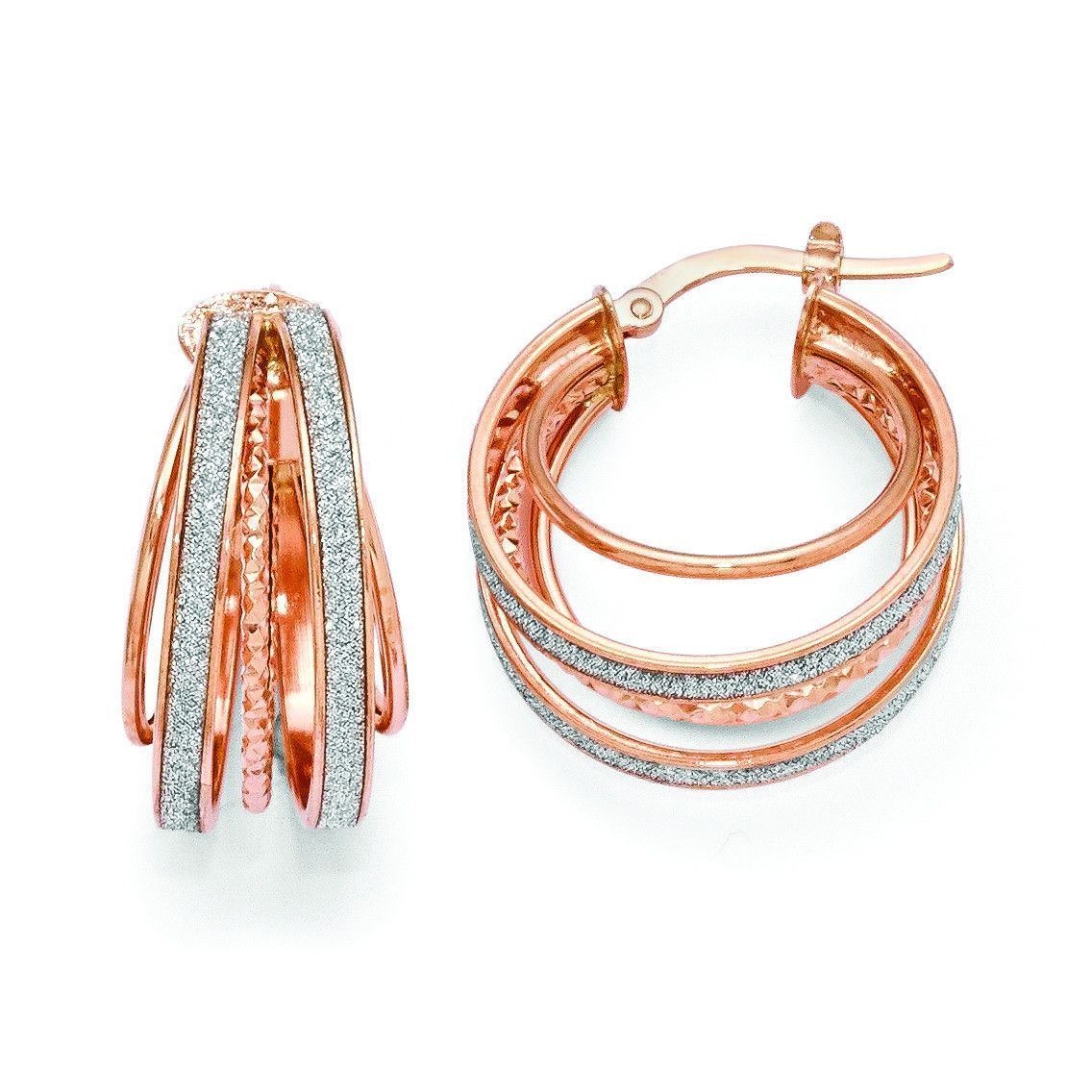 Leslies Real 14kt Yellow Gold Polished Glimmer Infused Hoop Earrings
