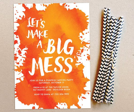 pumpkin carving party halloween party invitation big mess