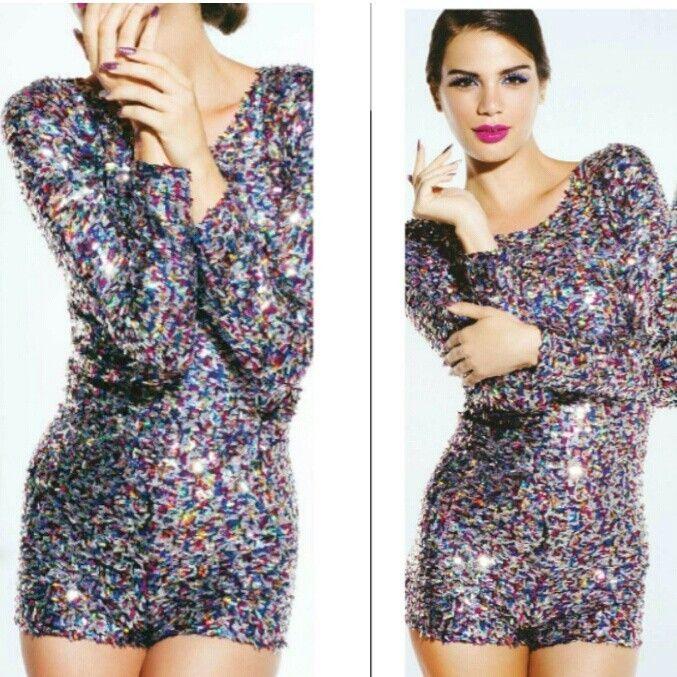 aa3ad6459bc Shop Kami Shade  - Plus Size Technicolor Sequin Long Sleeve Shorts Romper  Jumper