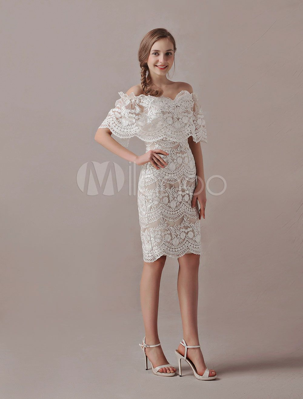 Boho wedding dresses short lace off the shoulder champagne sheath