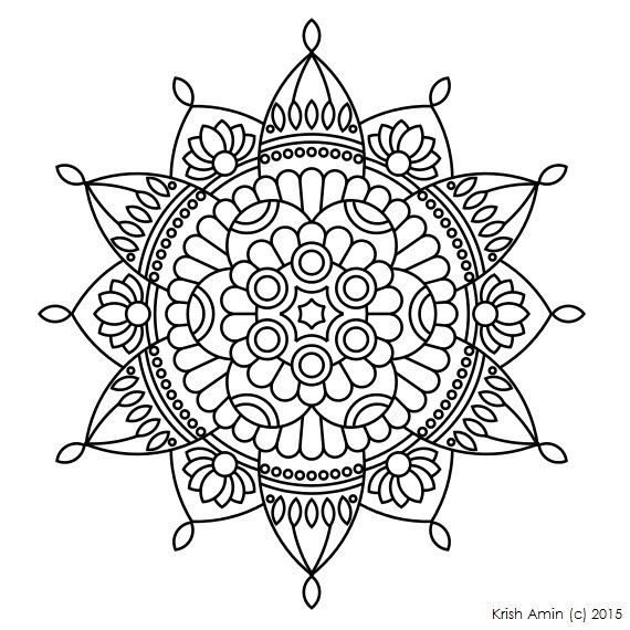 Printable Intricate Mandala Coloring Pages Instant Download PDF Doodling Page Adult Kids
