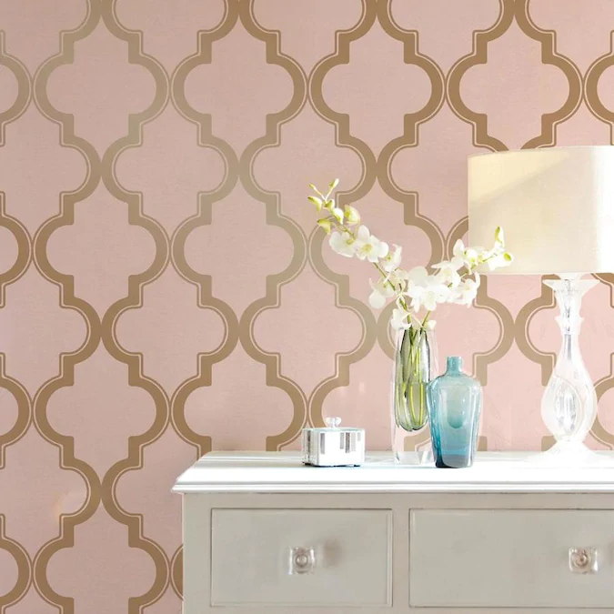 Tempaper 28 Sq Ft Pink And Metallic Gold Vinyl Geometric Self Adhesive Peel And Stick Wallpaper Lowes Com In 2021 Pink And Gold Wallpaper Removable Wallpaper Peel And Stick Wallpaper