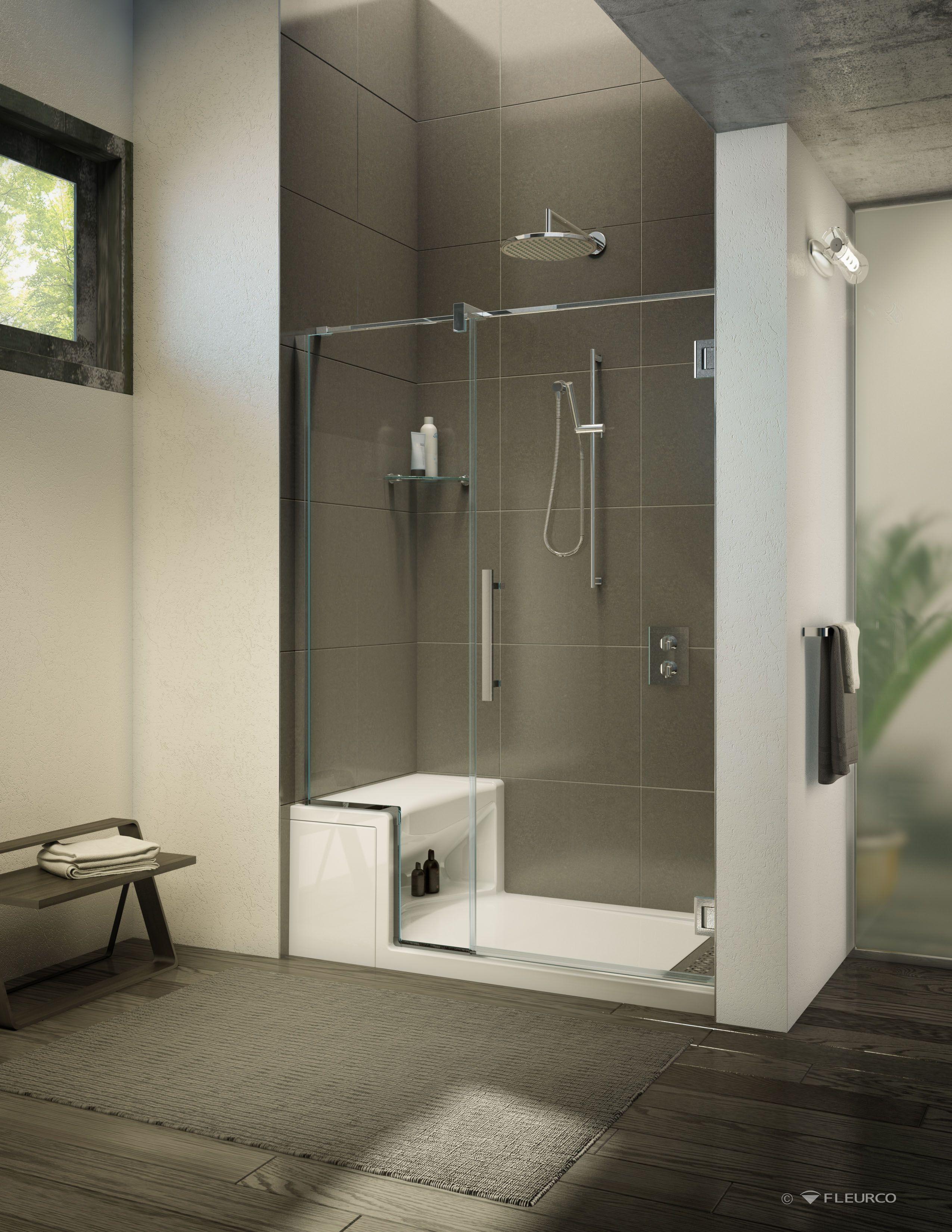 Modern bathroom with Fleurco\'s in-line shower door with shower base ...