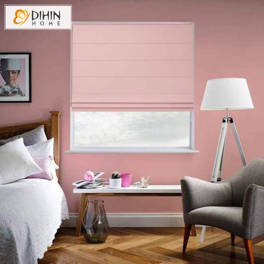 DIHIN HOME Modern Tender Pink Color Roman Shades ,Easy