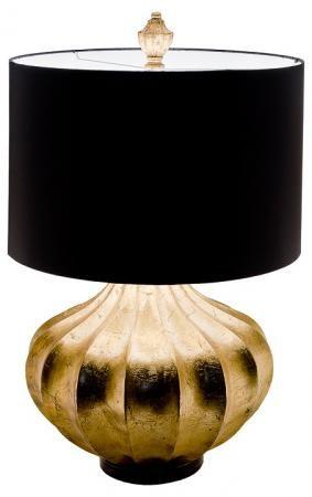 Large Gold Pumpkin Base Modern Table Lamp Black Shade