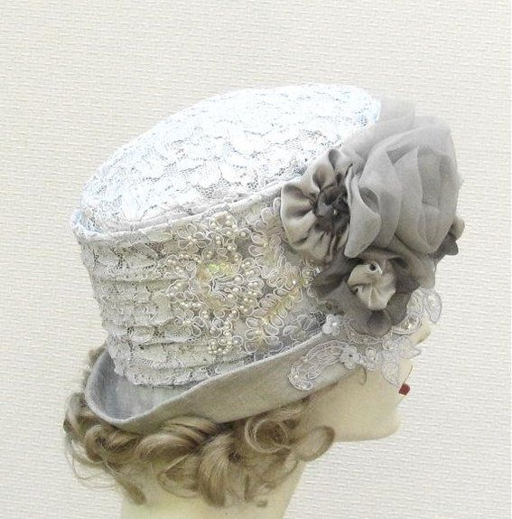 Wedding Top Hats for Women | ... Wedding Hat In Silver Lace And Silk by Gail's Custom Hats | CustomMade