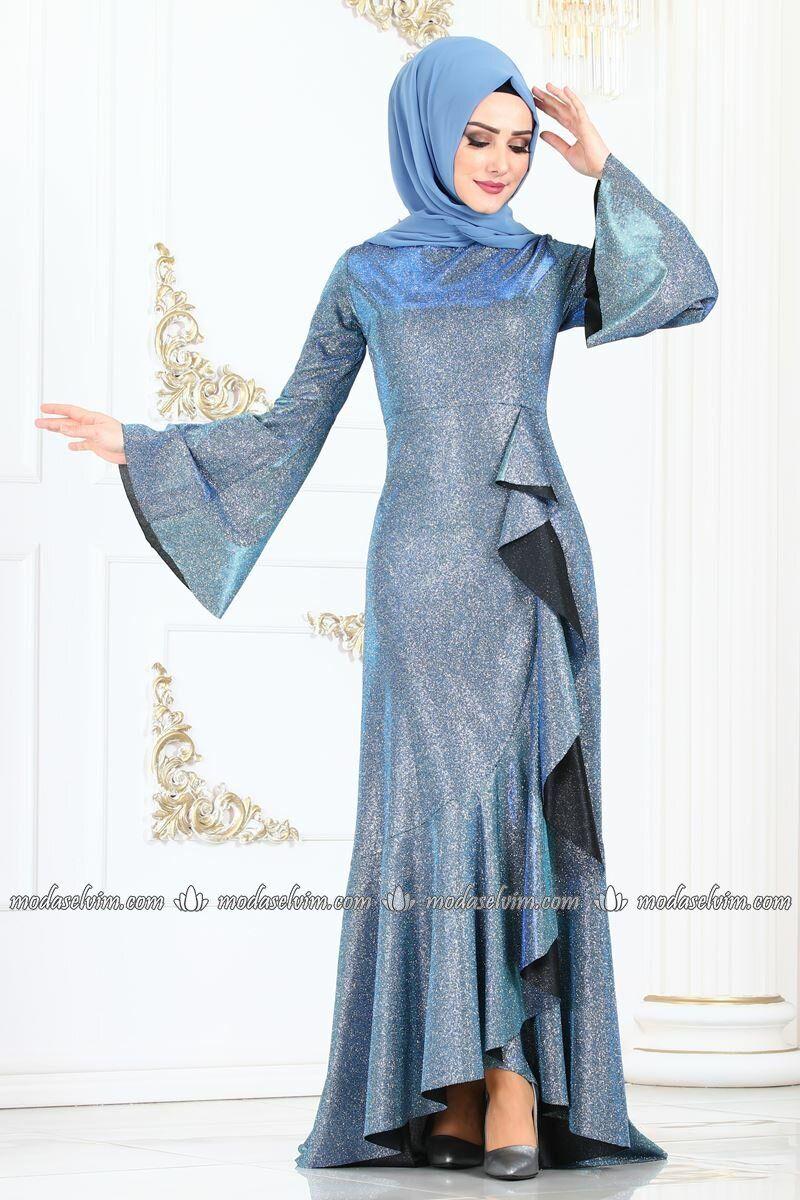 Moda Selvim Firfir Detay Simli Elbise 2160ms212 Indigo African Print Fashion Dresses Abayas Fashion African Fashion Dresses