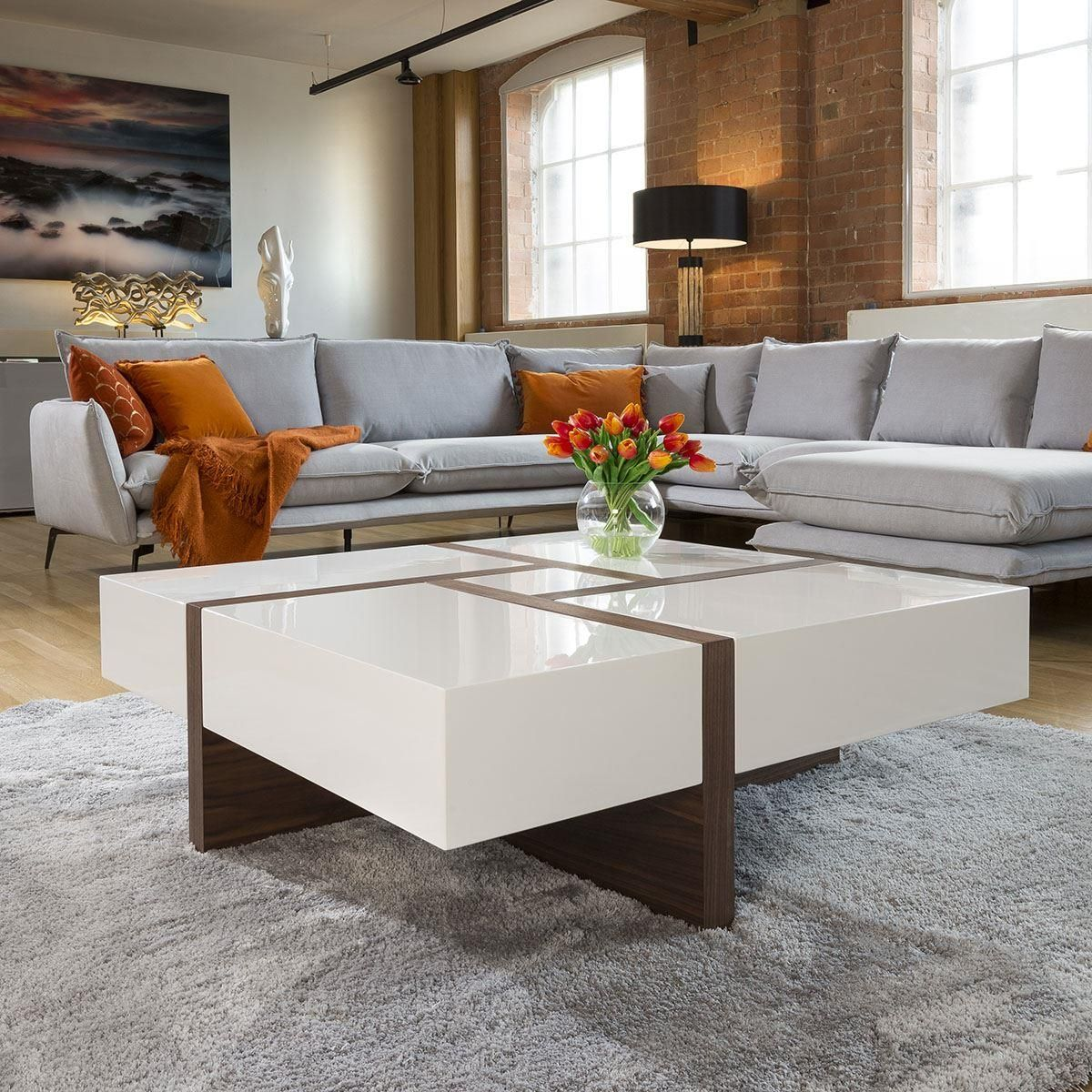Huge Modern Square 1000mm Coffee Table White High Gloss Walnut Legs Coffee Table Square Coffee Table Coffee Table White [ 1200 x 1200 Pixel ]
