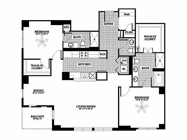 Bryson At City Place 2 Bedroom 2 Bath Floor Plan With Office Bryson At City Place Is An Urban