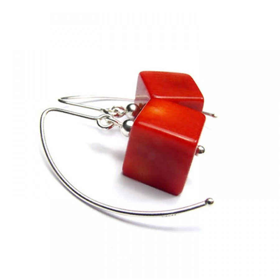 Genuine red coral Earrings with polished 12mm cube in Sterling Silver