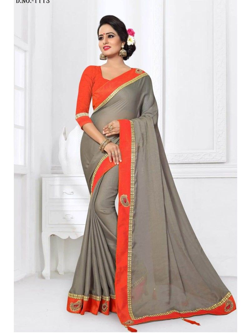 8245848a87e236 New Designer Indian Party Wear Grey color Border Saree with Orange Blouse