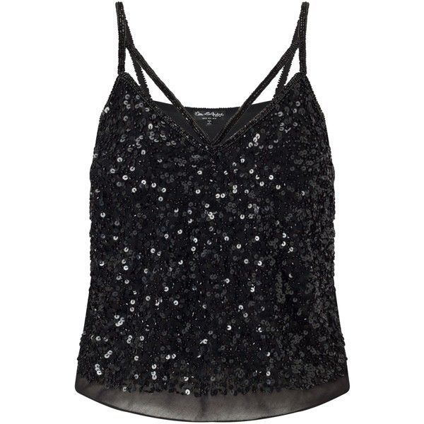 Miss Selfridge Embellished Strap Cami Top (635 UYU) ❤ liked on Polyvore featuring tops, shirts, v neck shirt, v-neck camisoles, sequin tank top, no sleeve shirt and v-neck tank tops