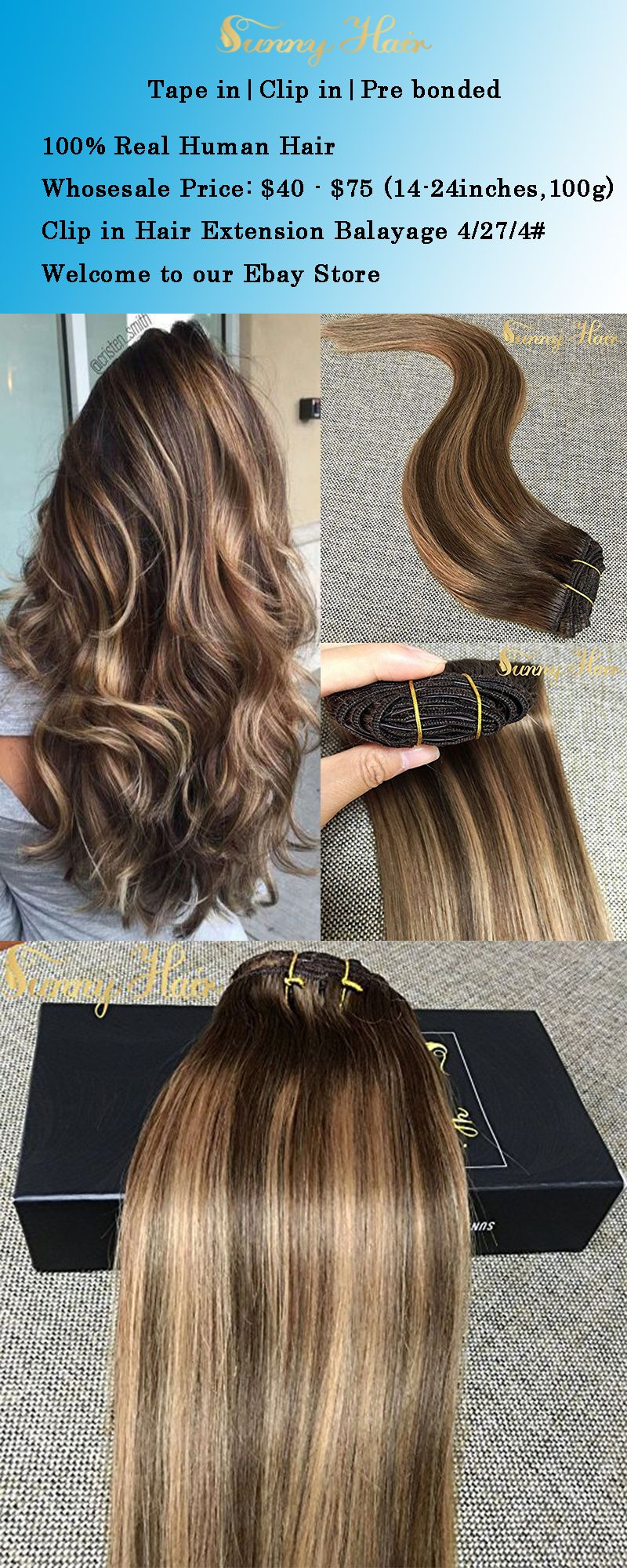 Details About Sunny Clip In Human Hair Extensions Balayage Dark