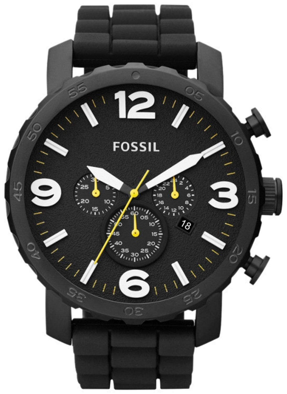 bf5ffbb338db7 Fossil Men s JR1425 Nate Chronograph Black Silicone Watch  Watches   Amazon.com