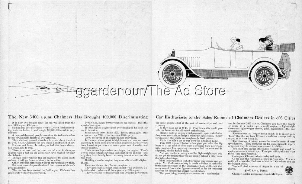 1916 Chalmers Motor Company Detroit Michigan 3400 rpm Antique Open Motor Car Ad