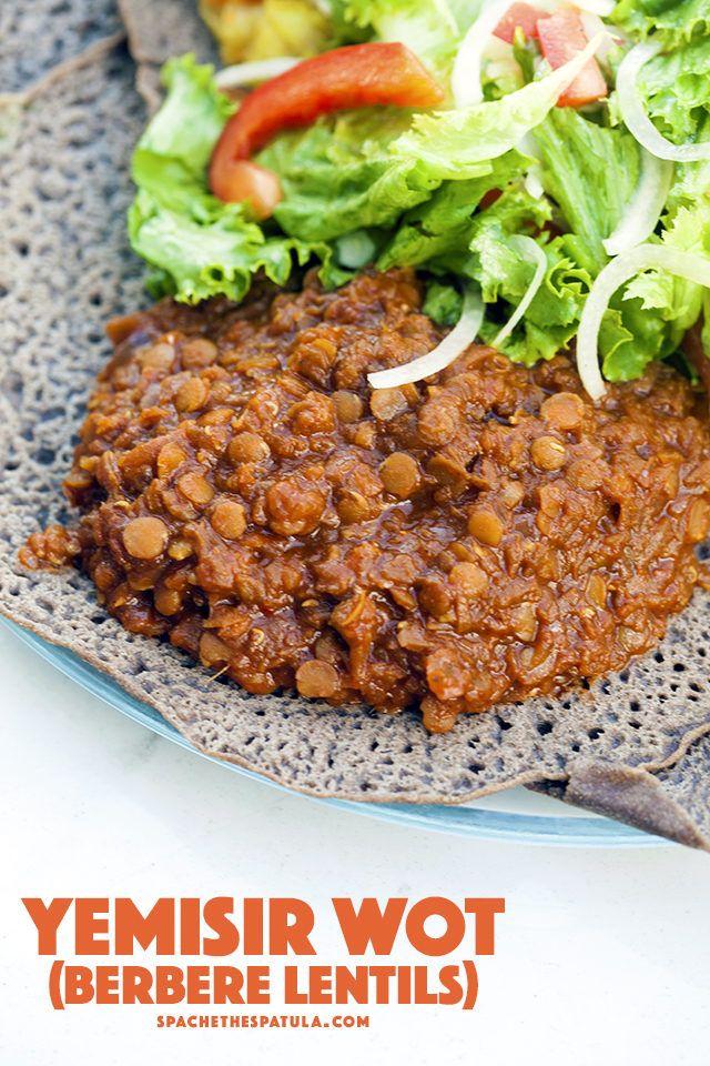 Ethiopian Feast Yemisir Wot Berbere Lentils Onions Salts And Spicy