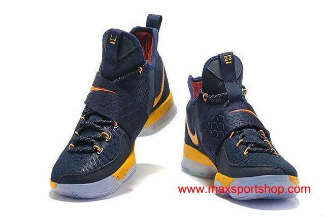 save off d275a 4a58a Nike LeBron XIV Team Cavaliers Dark-blue Yellow Men's Basketball Shoes