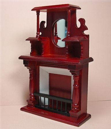 Bodo Hennig Puppenstube Wohnzimmerschrank Holz Braun Spiegel Blumenvase Antik Dollhouse Living Room Cabinet Wood Brown Mirror Flower Vase Antique